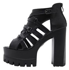 Goth Shoes, Black Peep Toe Pumps, Leg Work, Summer Shoes, Gladiator Sandals, Stability, Soft Leather, High Heels, Walking