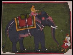 Type: Elephants and hunts; Title: 'Maharao Bhao Singh riding an elephant', Bundi, c. Indian Elephant, Elephant Art, Mural Art, Wall Art, India Painting, Elephant Pictures, Asian Art, Southeast Asia, Contemporary Artists
