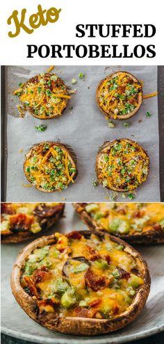Easy Mushroom Recipes, Portobello Mushroom Recipes, Vegetable Recipes, Stuffed Portobello Mushrooms, Stuffed Mushroom Recipes, Best Mushroom Recipe, Mushrooms Recipes, Banting Recipes, Diet Recipes