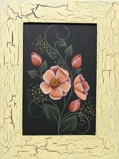 Handpainted Primrose, Framed, Home Decor, Wall Art, Shelf Sitter
