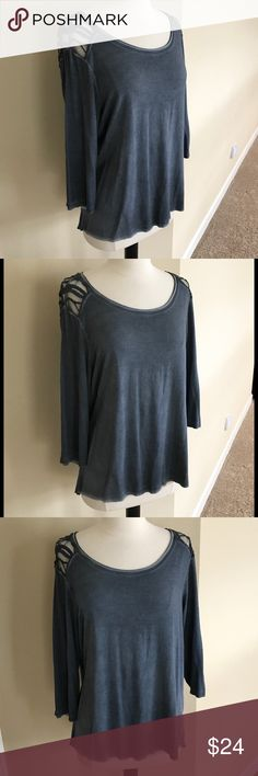 NEW! Dantelle Lacey Top - SALE! New with tags. Pretty smoky blue top with lace shoulders and top of back. Material is 92% rayon, 8% spandex. I believe the lease portion is 60% cotton, 40% polyester. Instructions for washing state to wash alone for the first two washes. Machine washable. Dantelle Tops