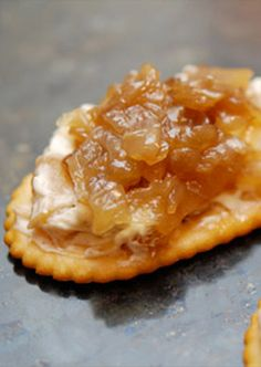This caramelized onion and apple cream cheese spread is the perfect party appetizer!