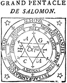 The Grand Pentacle of Solomon as depicted in a 1547 French edition of the grimoire Heptameron, spuriously attributed to Peter de Abano. Occult Symbols, Magic Symbols, Ancient Symbols, Symbole Protection, Protection Symbols, Pentacle, Seal Of Solomon, Sigil Magic, Magic Squares