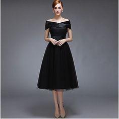 Tea-length+Satin+/+Tulle+Bridesmaid+Dress+-+Black+A-line+Off-the-shoulder+–+USD+$+69.99