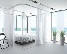 There's something about an all-white room with a seascape theme that really works. Maybe because of the pure white sand and open sky. Ideally, you'd want your room to be facing the beautiful blue ocean, but if you're not so lucky, having that theme will also help liven up an all-white room. Using sheer curtains and soft, gauzy materials in a room can beckon a guest to relax almost as much as a warm beach could.