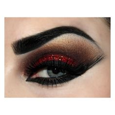 Christmas Dinner? Create a Red Smoky Eye Look | Daily Beauty Blog ❤ liked on Polyvore featuring beauty products, makeup, eye makeup, eyes, beauty and eyeshadow