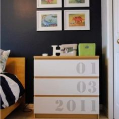DIY your child's dresser by stenciling their date of birth onto the drawers. (Via To London With Love)