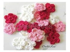 Small Crochet Flowers PINK by OnelifeRosen on Etsy