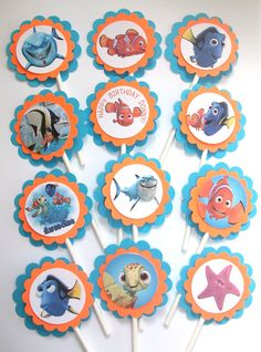 Finding Nemo Cupcake Toppers  1 Dozen by RhondasBowtique on Etsy