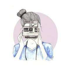 art, camera, cute, drawing, girl found on Polyvore