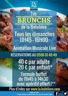 Tous les dimanches, retrouvez les Brunchs de la Batelière de 11h45 à 16h00 avec animation musicale ! Le rendez-vous du dimanche en Martinique !