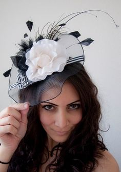 Grace Black and White English Flower Couture Hat by EyeHeartMe, $64.00