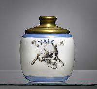 Yale Skull and Bones Society Milk Glass Humidor, - Cowan's Auctions