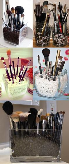 Wondering how to keep makeup brushes without them knock into each other??...with gravel or some type of grain...