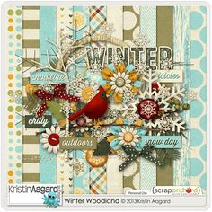 Digital Scrapbook Kit - Winter Woodland | Kristin Aagard
