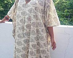 Kaftan Maxi Dress Beach Cover Up Caftan Indian Cotton Dress Handblock print Beige Tunic Gown Maternity Robe
