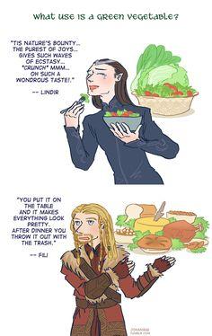 """Dwarves VS Elves: Vegetable Edition"" by johanirae on DeviantArt.com."