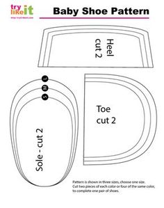 Reversible Baby Shoe :: Tutorial and Images of Baby Shoe Pattern Template Baby Moccasin Pattern, Baby Shoes Pattern, Baby Sewing Projects, Sewing For Kids, Sewing Patterns Free, Baby Patterns, Doll Shoe Patterns, Dress Patterns, Baby Shoes Tutorial