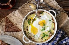 Cheesy Mushroom Baked Eggs for Two #breakfast #brunch #recipe #eggs