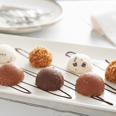 PETITS CROQUANTINS CRÈMES GLACÉES   A selections of small domed desserts, that encase a crème glacèe (similar to ice cream) and topped with coconut, chocolate chips or praline. Served straight from your freezer, they are a perfect bite sized treat. They are made in France by team of passionate frozen dessert specialist, that also happen to be old school friends. Coconut Chocolate, Chocolate Chips, Italian Cherries, Pizza One, Pesto Pizza, Wood Fired Oven, Bite Size, Sorbet, Cherry Tomatoes