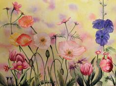 Field of Flowers by FionaJaneWatercolors on Etsy https://www.etsy.com/listing/206585869/field-of-flowers