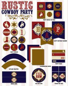 Rustic Cowboy Party PRINTABLE DIY Custom Birthday by lovetheday, $35.00