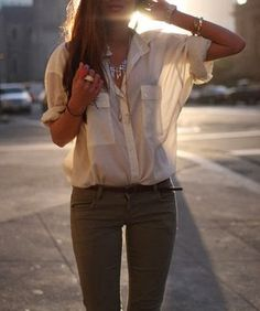 Army Green Pants and Off-White Sheer Blouse