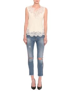 Distressed Side-Stripe Skinny Jeans, Indigo and Matching Items by Ermanno Scervino at Neiman Marcus.