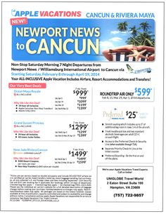 Non Stop air starting at $599.  Add a all inclusive resort package to make your vacation complete