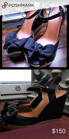 half off d9acc f8df9 Tory Burch black wedge heel sandles sz.7 They have been worn 1 time only