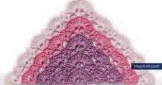 Simple Openwork Pattern for Triangle Shawl - diagram + step by step instruction Picot Crochet, Crochet Motif, Diy Crochet, Crochet Crafts, Crochet Projects, Crochet Shawl Diagram, Crochet Stitches Patterns, Crochet Designs, Knitting Patterns