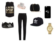 """black and gold ness"" by love123love123 ❤ liked on Polyvore featuring Balmain, Yves Saint Laurent, adidas, Serpui, Bulova and Allurez"
