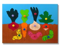 Wooden Peg Puzzle with Knobs Gardening with Vegetables and Worms