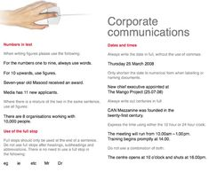 Corporate Communications: Dates and times Always write the date in full, without the use of commas: Thursday 25 March 2008 Only shorten the ...