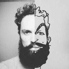 #Beardsman @jon charly from #Mexico shows us the awesome results of art intersecting with life. #art #illustration #beards #beardbrand #style #community #lifestyle #beard #urbanbeardsman