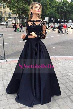Negro 2016 de manga larga de dos piezas bateau longitud de vestidos de baile del piso del satén