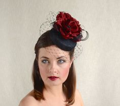b78b83b19b422 Black Pillbox Hat with Birdcage Veil and Red Silk Flower by RUBINA Millinery   pillbox