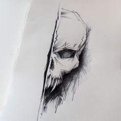 Skull tattoo design by rysaaTATTOO #tattoodesign #tattoo #design #sketch #sketchstyle #project #tattooproject #linework #inkwork #blackwork #skull #skulltattoo #creepy #skull #skulldesign #skullsketch