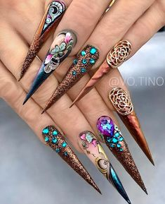 Latest Trends 2020 of Long Nail Designs & Art. Beautiful Nail Designs, Beautiful Nail Art, Gorgeous Nails, Beautiful Beautiful, Fancy Nails, Bling Nails, Swag Nails, Stylish Nails, Trendy Nails