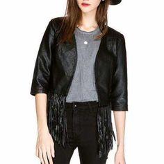 Fashion fringe motorcycle bike jacket for women plain black jacket coat