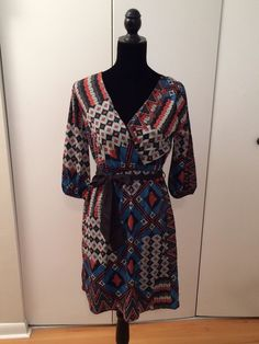 Anthropologie Everly Geometric Pattern Dress 3/4 Sleeve Size M #Everly #WrapDress #Casual