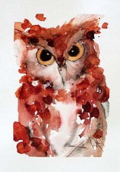 Watercolor Painting of Screech Owl Original Bird by dawndermanart, $15.00
