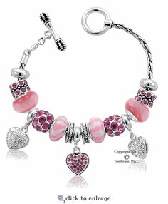 Davinci Pink Heart Bracelet Charms Pandora Bracelets Charm