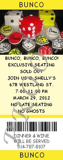 Bunco Fundraiser Event Ticket/Invitation - Great casual fundraiser where everyone has lots of fun!