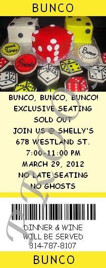 Bunco Fundraiser Event Ticket or Invitation #partyshelf #bunco