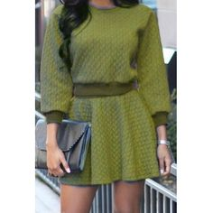 USD13.49Green Cotton Blend Skirt Solid O neck Long Sleeve Casual Two-piece Outfits