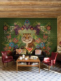 by Catalina Estrada | Home office in the Arts and Crafts Style | bold vivid colors