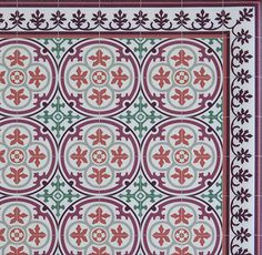 FREE SHIPPING Tiles Pattern Decorative PVC vinyl mat linoleum rug- Bordeaux and orange- 105 by videcor on Etsy