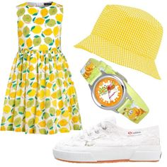 Outfit che sprigiona tanta allegria grazie al colore del sole che è presente nell'abito con stampa limoni e nel cappello a quadrettini.…