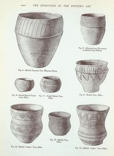 Vessels from the ancient British barrows: Fig. (Illustrations to the T. Ancient Egyptian Art, Ancient Aliens, Ancient Greece, Ancient History, Heroic Age, Pottery Designs, Anglo Saxon, Ancient Artifacts, Bronze Age